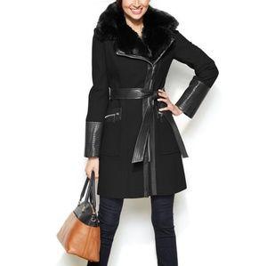 Via Spiga Assymetrical Faux Fur Collar Coat